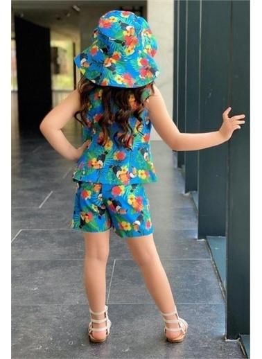 Riccotarz Kız Çocuk Papağanlı Tropik Şortlu Takım Mavi